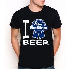 New Pabst Blue Ribbon Beer Custom Black T-Shirt Tee All Size XS-XXL
