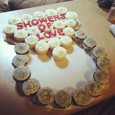 Bridal shower ring cupcake display