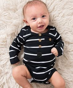 Littlest Prince Couture Black & White Stripe Henley Bodysuit - Infant | zulily