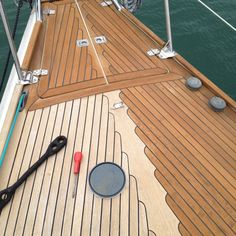 Cleaning the teak on my yacht .... Looks stunning, well for at least a few months, before you have to do it again .... Product used  Semco Honeytone