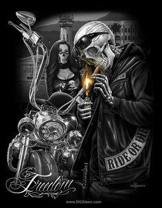 Skull Ride by OG Abel 'chicano' Motorcycle Art, Bike Art, Motorcycle Tattoos, Boris Vallejo, Hd Fatboy, David Gonzalez, Aztecas Art, Graffiti Tattoo, Lowrider Art