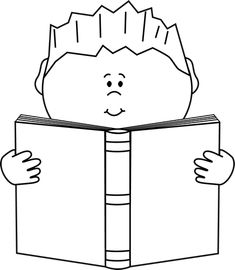 Reading a Book Clip Art Image - black and white ...