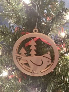 Wooden Christmas Ornament Bird and Trees Christmas Tree Ornament Home Decor Gift 3D Scroll Saw