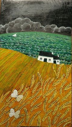 Poetic Landscapes by Valeriane Leblond Valériane Leblond is a Franco-quebecker painter and lives in Ceredigion, Wales. She mainly paints on wood and creates images of rural landscapes and coastal villages and their people at work. Landscape Quilts, Landscape Art, Landscape Paintings, Modern Paintings, Art Texture, Illustration Art, Illustrations, Naive Art, Fabric Art