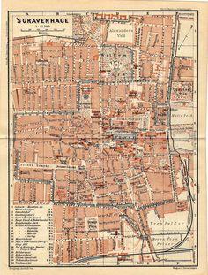Antique map of 's Gravenhage/The Hague 1905.