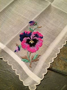Vintage Pansy Hankie Embroidered with a Rhinestone Center Beautiful Detail