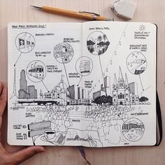 Diagrammatic sketch : @tendtotravel loves to travel around the world and find out what makes each city so unique. Here are some notes about Melbourne, Australia // #urbansketcher @tendtotravel