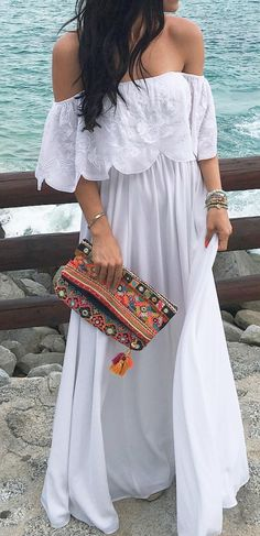 Summer Off Shoulder Beach Holiday Dresses Pink / XL Beauty And Fashion, Boho Fashion, Fashion Outfits, Dress Fashion, Fashion Clothes, Trendy Fashion, White Maxi Dresses, Casual Dresses, Summer Dresses