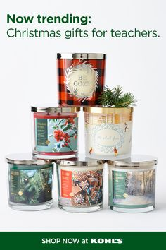 Get your favorite educators something they'll love! Try a festive scented candle to fill their home with holiday aromas. It's the perfect way to show how much you appreciate them. Plus shopping is easy with fast + free store pickup. Shop Christmas gifts for teachers at Kohl's and kohls.com. Teacher Christmas Gifts, Teacher Gifts, Holiday Gifts, Kohls, Your Favorite, Appreciation, Festive, Fill, Candles