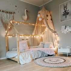 This house floor bed is an interesting idea. I want to give the crib to the new baby but lily is too little to not be on a crib. Could we get this bed frame and build tall removable rails around it? Baby Bedroom, Baby Room Decor, Girls Bedroom, Bedroom Decor, Girl Toddler Bedroom, Bed For Girls Room, Bedroom Ideas, Toddler House Bed, House Beds For Kids