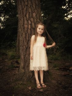 The Dorothy flower girl dress Cotton and lace girls by RhianEleri