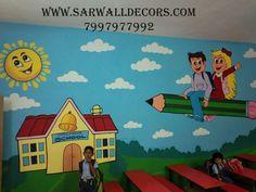 3d Wall Painting, Cartoon Painting, Texture Painting, School Painting, School Clipart, Creative Art, Wall Art Decor, Modern Art, School Admissions