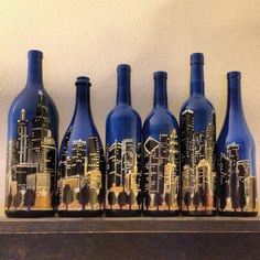 Set of Hand Painted Bottles  Chicago Skyline by PerhapsAWildflower