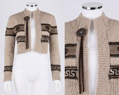 PERUVIAN CONNECTION BEIGE TAN BROWN WOOL KNIT CROPPED CARDIGAN SWEATER SZ S #PeruvianConnection #Shrug