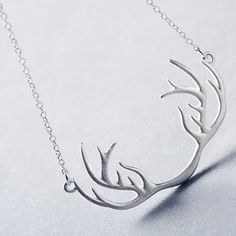 Sweet Solid Color Antler Shape Pendant Necklace For Women - Silver - Cheap Fashion Jewelry, Cheap Jewelry, Women Jewelry, Antler Necklace, Pendant Necklace, Cheap Necklaces, Jewelry Necklaces, Discount Jewelry, Cheap Accessories