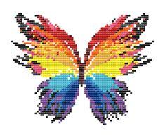 Rainbow Butterfly Cross Stitch Pattern – Embroidery Patterns – PDF Ins… Butterfly Cross Stitch, Cross Stitch Art, Cross Stitch Borders, Cross Stitch Animals, Modern Cross Stitch Patterns, Counted Cross Stitch Patterns, Cross Stitch Designs, Basic Embroidery Stitches, Cross Stitch Embroidery