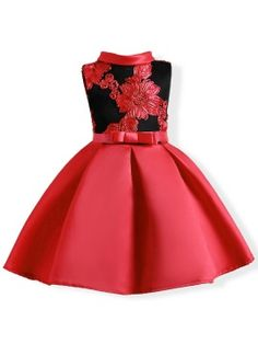 Stand Collar Embroidery Print Floral Bowknot Girls Dress