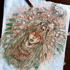 Aztech warrior pt.2 , up for grabs!! Have a great day! ✏️☠️#sketchbook #worldofpencils #art