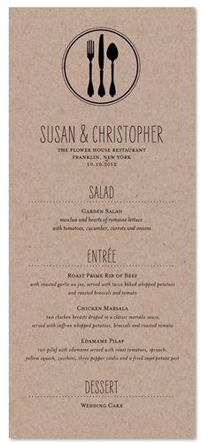 Unique Wedding Menu ~ Fork + Knife + Spoon