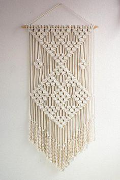 "Macrame Wall Hanging / ""Plot Points"" / Fiber Art / Bohemian Decor You are in … Macrame Wall Hanging Patterns, Large Macrame Wall Hanging, Macrame Art, Macrame Design, Macrame Projects, Macrame Patterns, Macrame Mirror, Macrame Curtain, Beaded Curtains"