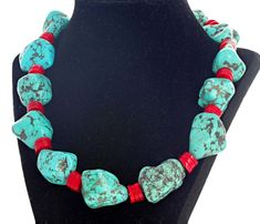 Coral Turquoise, Red Coral, Blue Green, African Beads Necklace, Beaded Necklaces, Statement Necklaces, Beaded Earrings, Coral Jewelry, Boho Jewelry