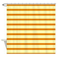 Shades of Orange Stripes Shower Curtain on CafePress.com