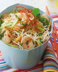 Low FODMAP Recipe and Gluten Free Recipe - Chili shrimp with sesame noodles http://www.ibssano.com/low_fodmap_recipes_chili_shrimp_sesame_noodles.html