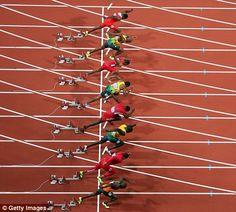 Churandy Martina, Ryan Bailey, Usain Bolt, Justin Gatlin, Yohan Blake, Tyson Gay, Asafa Powell and Richard Thompson leave the blocks in the men's 100m final