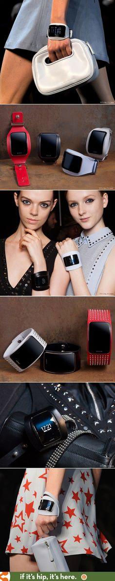 Swarovski and Diesel Design for the New Samsung Gear S Watch-Diesel Black Gold Designs cool leather and studded bands for the new Samsung Gear S watch