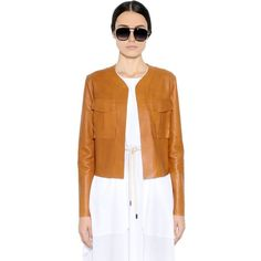 SPORTMAX Nappa Leather Jacket (€1.820) ❤ liked on Polyvore featuring outerwear, jackets, brown, brown jacket, sportmax and nappa leather jacket