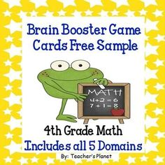 Free Sample of  Common Core Math 4th Grade Brain Booster Game/Task Cards Bundle Pack!Includes all 5 Common Core Domains for 4th grade:Operations and Algebraic ThinkingNumber and Operations in Base TenNumber and Operations-FractionsMeasurement and DataGeometrySave money on Brain Booster Game Cards by buying the Bundle Packs:Brain Booster Game Cards Bundle Pack Set 1Brain Booster Game Cards Bundle Pack Set 2*I have many FREE products.