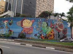 Os Gemeos, Nunca and Nina in São Paulo, Brazil.