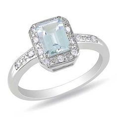 Emerald-Cut Aquamarine, and Diamond Accent Ring in Sterling Silver