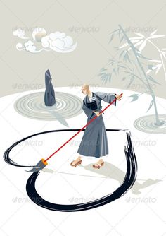 Zen Monk Painting A Heart  #GraphicRiver         Zen monk in a garden painting a great heart on the floor with a big brush. In the garden there is a stone and few concentric circles of sand and bamboo plant. In the sky is the moon.  	 The folder contains an illustrator file, an EPS10 file, and a high resolution JPG file. You can easily take each character separately.  	 - Vector (AI + EPS10 ) – Easy to edit & customize.     Created: 23April12 GraphicsFilesIncluded: JPGImage #VectorEPS…