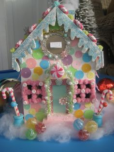 The candy man's ginger bread house by tiedupmemories, via Love how colorful it is! Candy Land Christmas, Christmas Gingerbread House, Christmas Town, Pink Christmas, All Things Christmas, Christmas Holidays, Gingerbread Houses, Putz Houses, Gingerbread Decorations