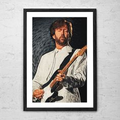 Eric Clapton, Illustration - Wall Art Poster - Fine Art Print for Interior Decoration