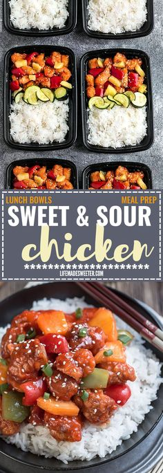 Slow Cooker or Instant Pot Pressure Cooker Sweet and Sour Chicken Meal Prep Lunch Bowls - coated in a sweet, savory and tangy sauce that is even better than your local takeout restaurant! Best of all, it's full of authentic flavors and super easy to make with just 15 minutes of prep time. Skip that takeout menu! This is so much better and healthier! Weekly meal prep for the week and leftovers are great for lunch bowls for work or school.