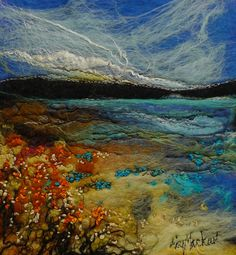 Moy Mackay Gallery The Jaded Meadow - Moy Mackay Gallery Landscape Quilts, Landscape Art, Wet Felting Projects, Felt Wall Hanging, Felt Pictures, Machine Embroidery Projects, Felt Embroidery, Wool Art, Thread Painting
