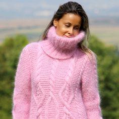 NEU Handgestrickt Langhaar Mohair Kleid Pullover Rollkragen M,L,XL Rosa   eBay