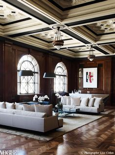 Once a boardroom in Melbourne's Port Authority building, pretty has no place in this living room. Vogue Living Sept/Oct 2012