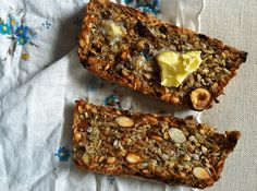 *Recipe inspired by Sarah Britton of My New Roots* Photo by Emma Frisch Prep Time: 10 minutes Cook time: 60 minutes Yield: 2 loaves Allergens: tree nuts Ingredients: Sunflower seeds – 2 cups raw sunflower seeds Flax seeds – 1 cup Hazelnuts or Almonds – 1 cup hazelnuts or almonds Oats – 3 cups rolled oats …