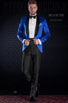 ONGala 1581 - Giacca smoking blu elettrico lucida con pantalone nero