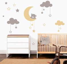 Try this lovely moon bear wall stickers on your room walls or on other place in your home. Try your own design. Baby Bedroom, Nursery Room, Boy Room, Girls Bedroom, Nursery Decor, Small Space Interior Design, Kids Room Design, Kids Wall Decals, Wall Stickers