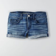 AEO Denim Shorts ($40) ❤ liked on Polyvore featuring shorts, bottoms, indigo waters, low rise denim shorts, american eagle outfitters, short jean shorts, fitted shorts and low rise jean shorts