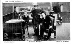 """Red Letter Photocard, Charlie the Messenger., Charles Inslee, Charlie Chaplin and Lawrence Bowes in """"The Bank"""" (1915)"""