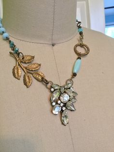 Leaf the bling to me- unique assemblage necklace by RevivalBling on Etsy https://www.etsy.com/listing/399694763/leaf-the-bling-to-me-unique-assemblage