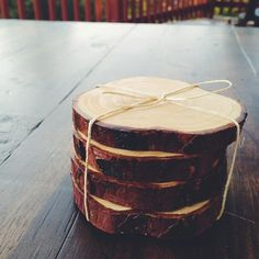 Handcrafted Cedar Wood Coasters /// LOVE