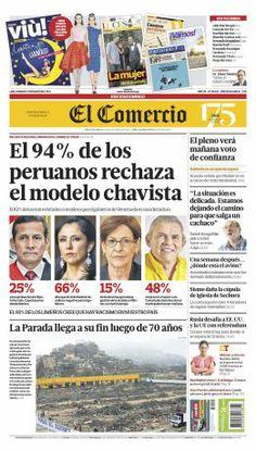 """¡Buen domingo! Esta es #nuestraPortada: """"El 94% de peruanos rechaza el modelo chavista"""""""