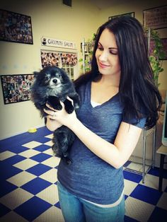 Kayla Pomeranian and our Professional Groomer Melissa! Www.facebook.com/pawplaygrooming