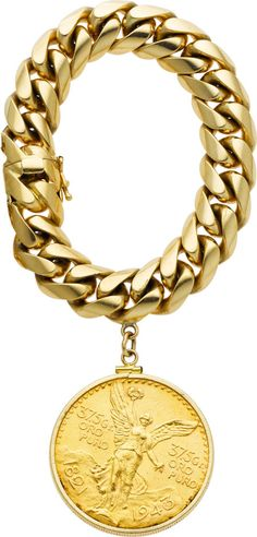 Gold Coin, Gold Bracelet The bracelet features one Mexican 50 peso gold coin, mounted in a 14k gold frame, suspended by 14k gold bracelet. Gross weight 140.40 grams. (est.val.: 4000.)